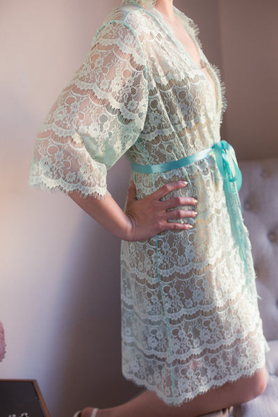 Mint Lace Bridal Robe <br> LR103