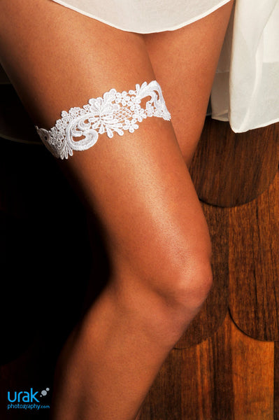 White Venise Lace Garter - GS101 [Best Seller]