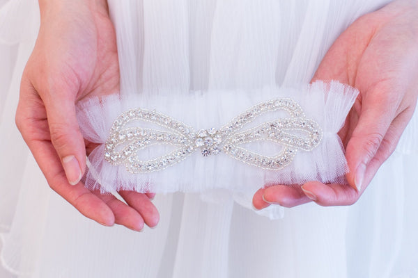 Tulle and Rhinestone Bow Garter <br> GS205