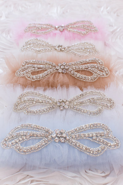 Tulle and Rhinestone Bow Garter - GS205