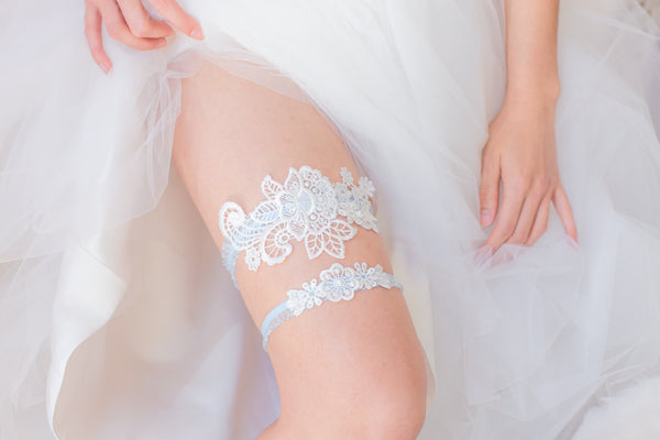 White and Blue Garter Set <br> GS108