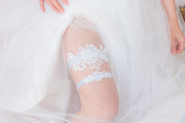 White and Blue Garter Set - GS108