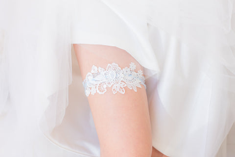 White and Blue Garter - GS104