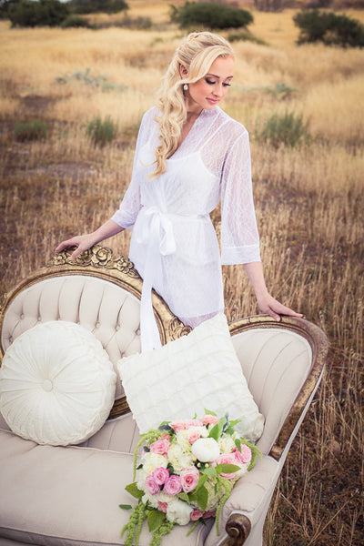 White Bridal Lace Robe - LR105