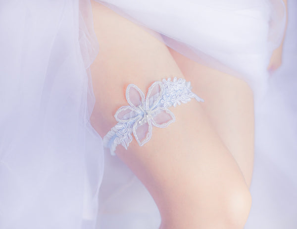 White and Blue Garter Set <br> GS109