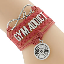 Red Gym Addict Leather Bracelet
