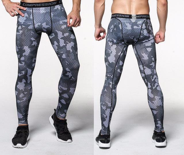 Dark Grey Camo Mens Compression Pants
