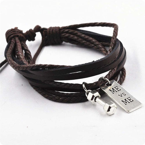 Multi-Layer Dumbbell Leather Charm Bracelet