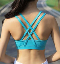 Blue Crossback Push Up Sports Bra