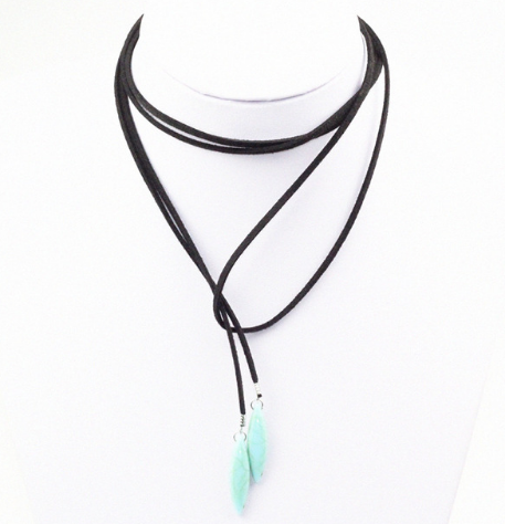 Black Suede Wrap Up Choker with Turquoise Stones