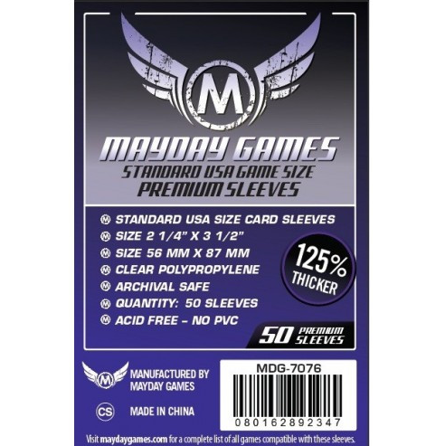 Sleeves - Clear Mayday Games 50pk (56x87)