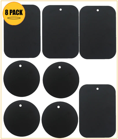 Kebelo® (8 Pack ) Metal Plate Replacement for Magnetic Cradle- less Mount 4 Rounded + 4 Rectangular Metal Plates With Adhesive (Black) - kebelodirect
