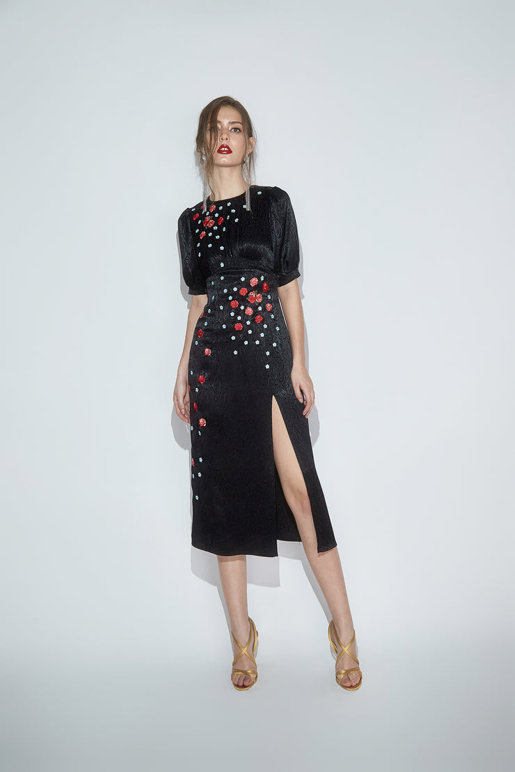 BLYTHE EMBROIDERED MIDI DRESS