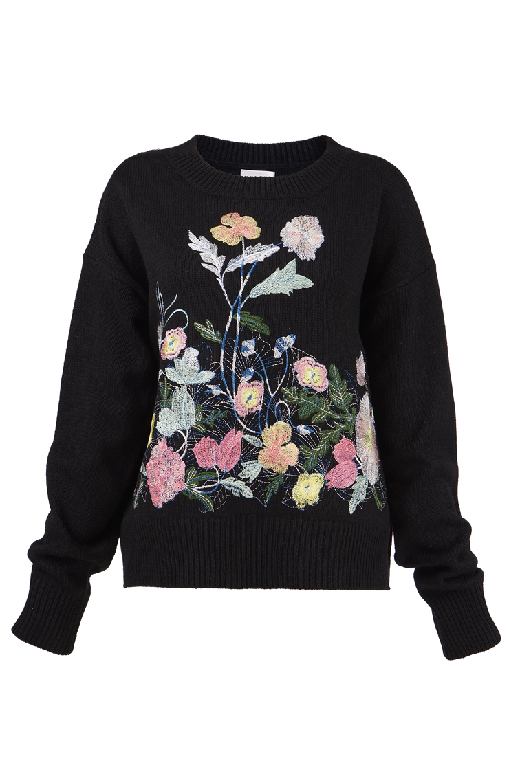 FLORA MULTI EMBROIDERY PULLOVER