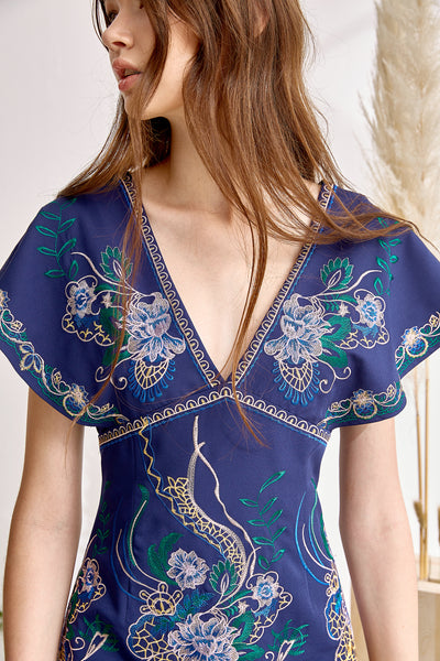 LILIA EMBROIDERED V DRESS