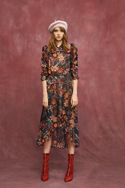 RETRO FLOWERS MIDI DRESS