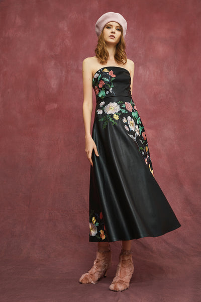 FLORA EMBROIDERY MIDI DRESS