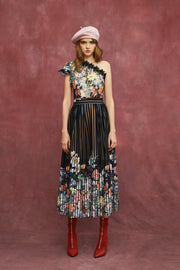 FLORA PRINT ONE SHOULDER DRESS