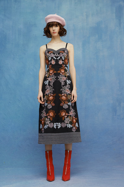 RETRO FLOWERS EMBROIDERY DRESS