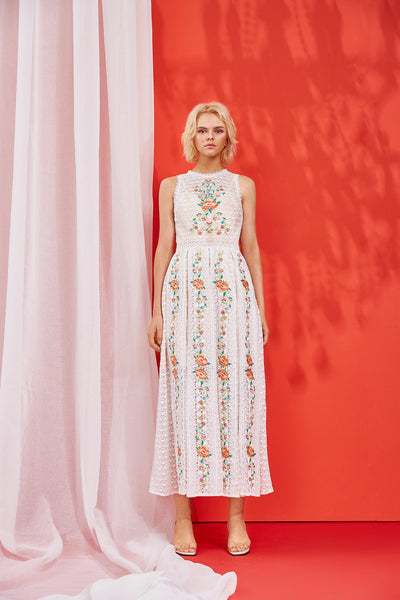 LORI EMBROIDERED MIDI DRESS