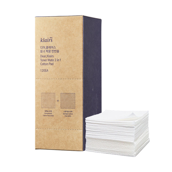 Klairs Toner Mate 2 in 1 Cotton Pad Set 120ea