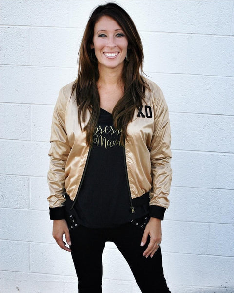 Gold XO Bomber Womens Jacket