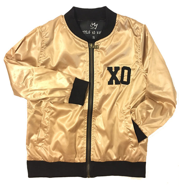 Gold XO Bomber Kids Jacket