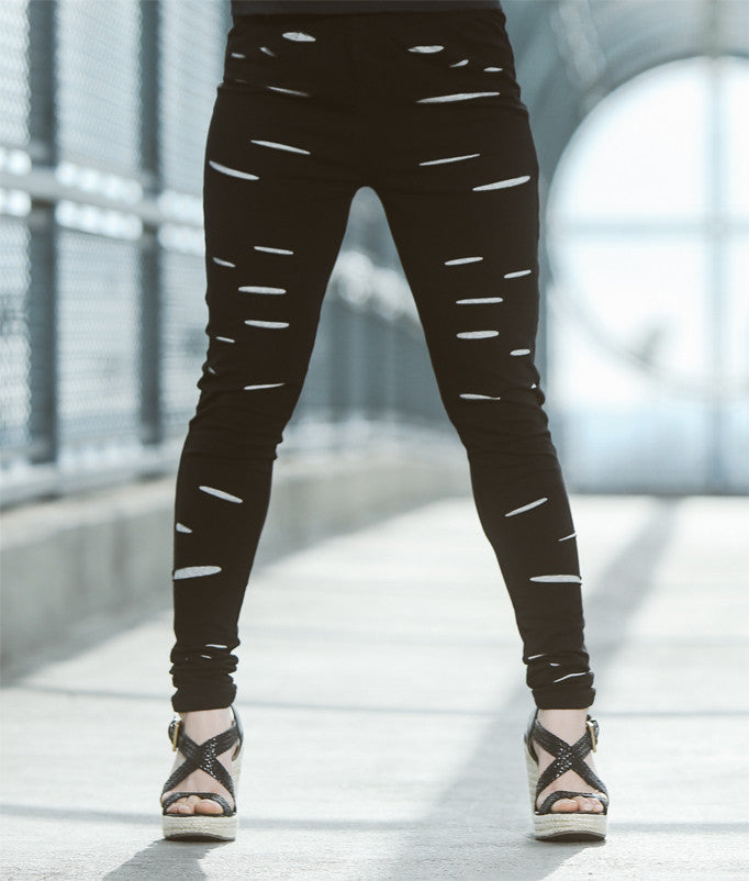 Black Distressed Women's Leggings