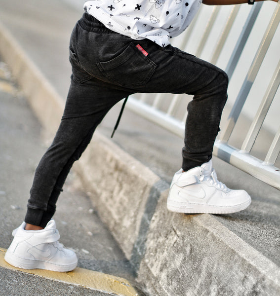 Black Wash Knit Joggers