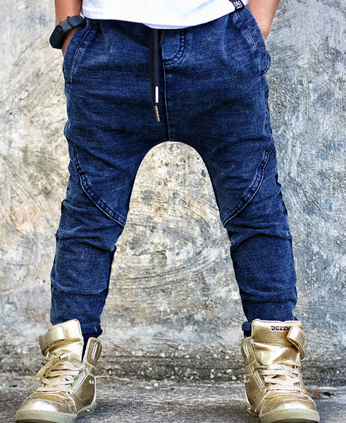 Blue Wash Knit Joggers
