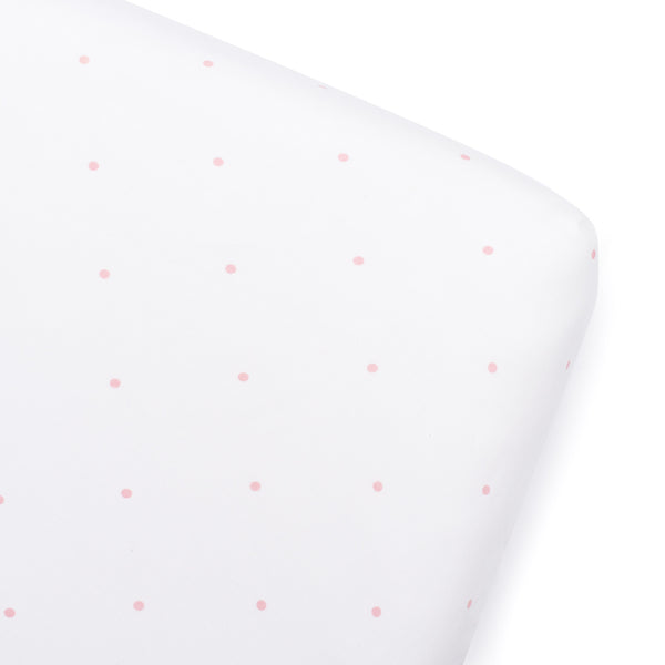Pink Polka Dot Fitted Cot Sheet