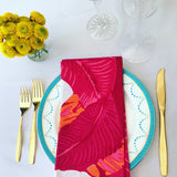 Palm Drive Cotton Napkins in Fuchsia - Palme d'Or
