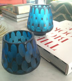 Cut Glass Votives in Turquoise - Palme d'Or