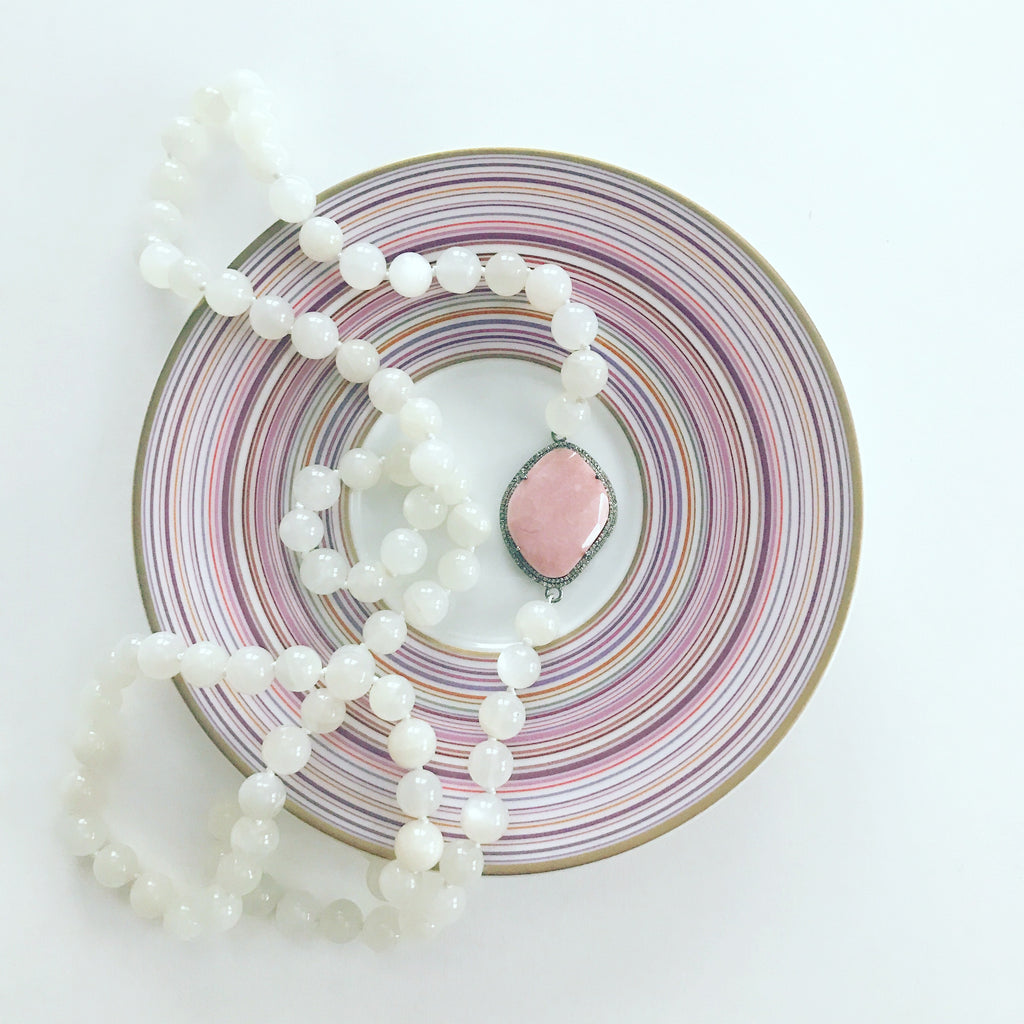 Desert Pink Opal and Moonstone Necklace - Palme d'Or