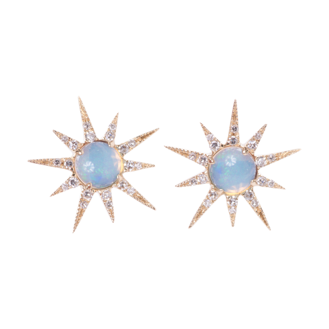 Diamond & Pink Opal Earrings