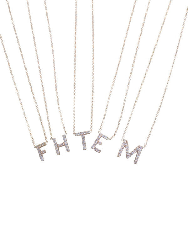 Diamond Initial Necklace - Palme d'Or