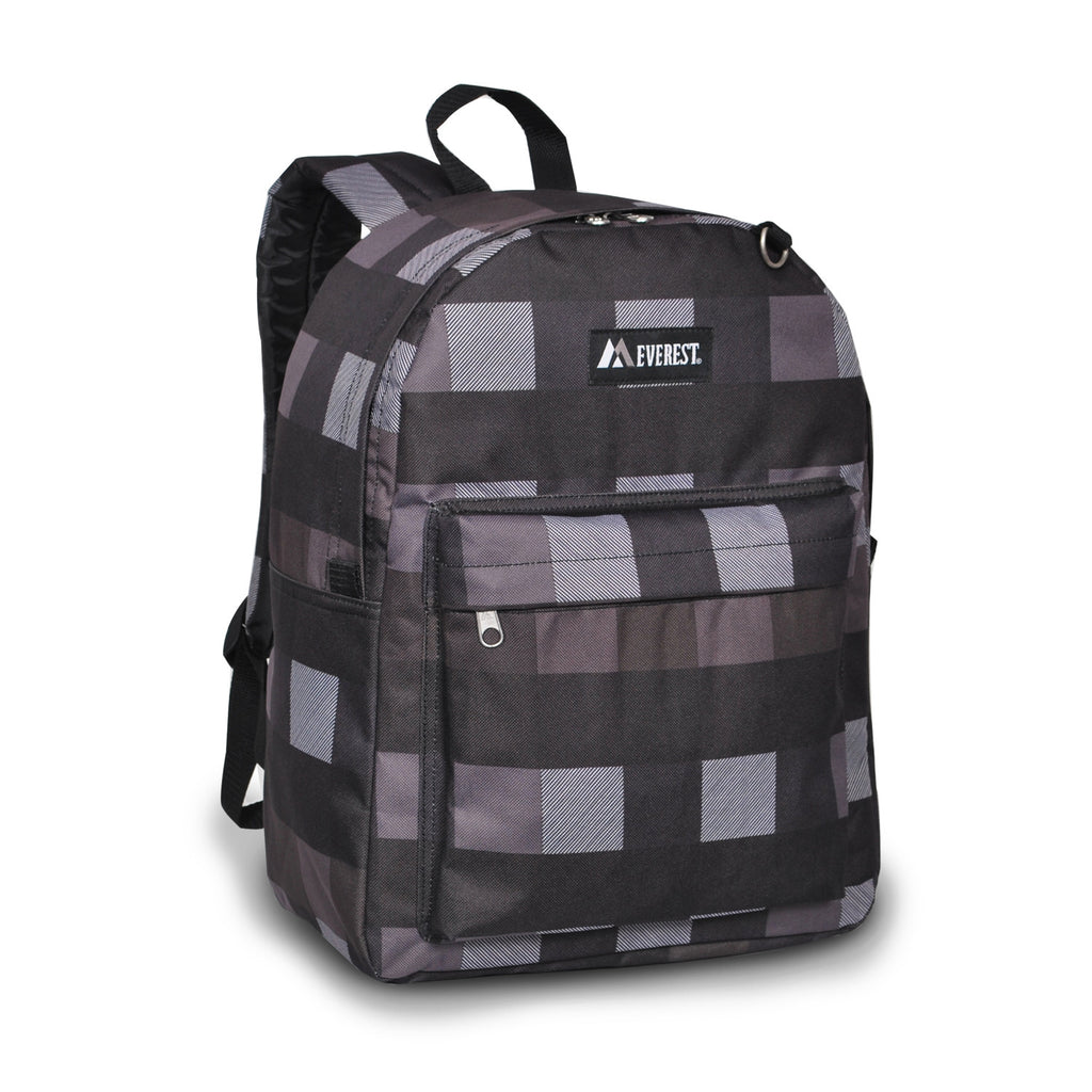 Authentic Everest Classic Pattern School Boys and Girls Backpack - CHARCOAL GRAY PLAID