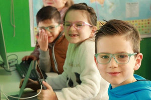 Children Wearing blue light blocking Glasses
