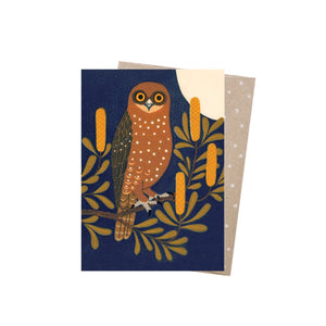 Boobook & Banksia - Greeting Card