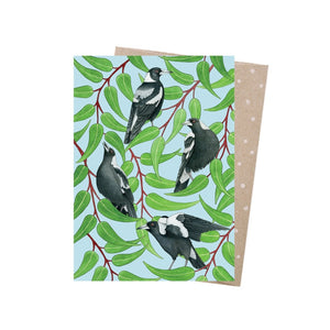Magpies Warble - Greeting Card