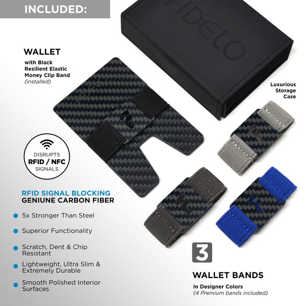 """Prestige"" Minimalist Mens Wallet– Front Pocket Carbon Fiber RFID Blocking Credit Card Holder with 4 Money Clip Bands"