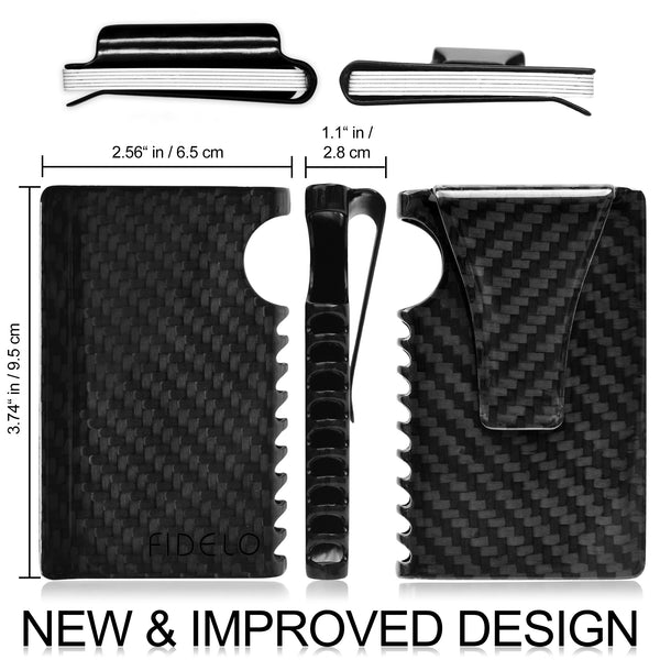 "The INFINITY ""Gloss Finish"" Mens Wallet Money Clip - Slim Carbon Fiber RFID Blocking 1 Piece Front Pocket Credit Card Holder"
