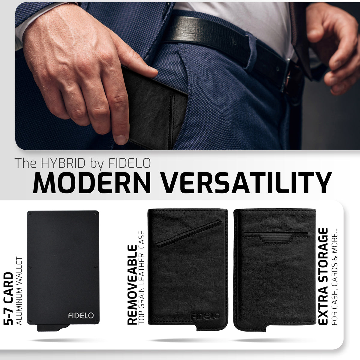 HYBRID WALLET & CASE - Black Vegetable Leather