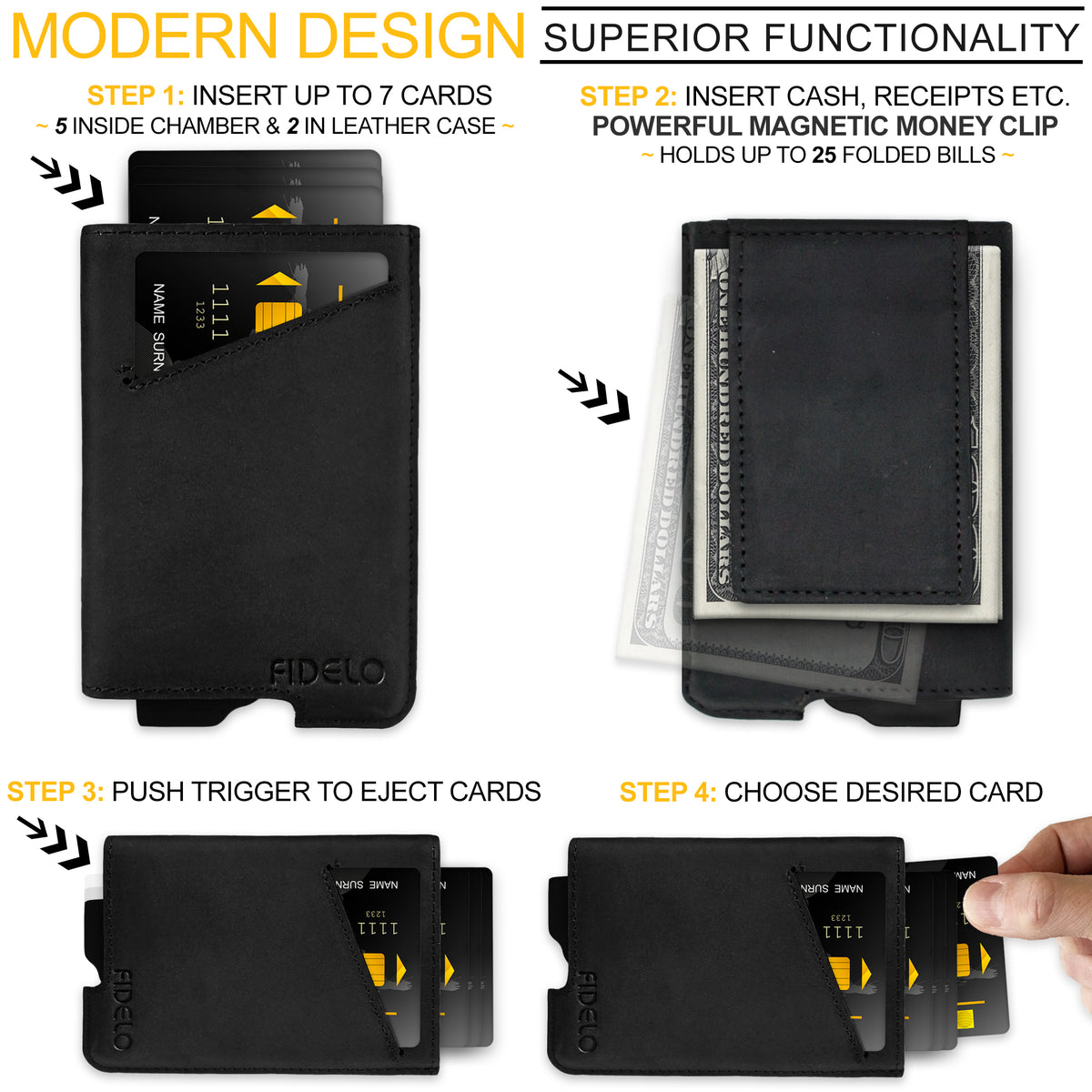 HYBRID WALLET & CASE - Black Magnetic Clip Crazy Horse Leather