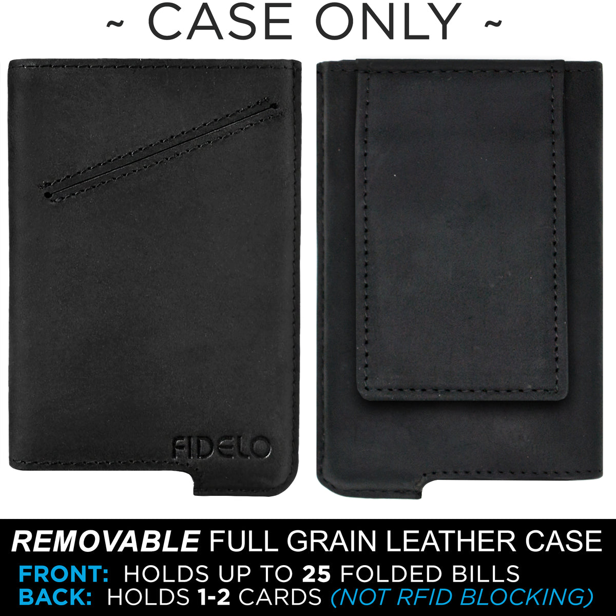 HYBRID CASE ONLY - Black Magnetic Clip Leather