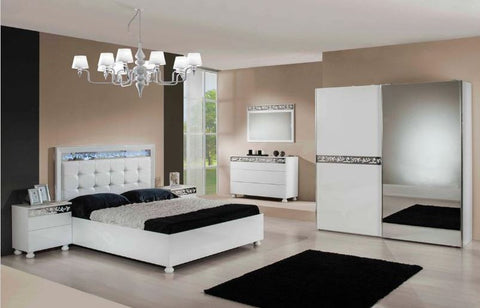 Modern Ambient White Bedroom Set