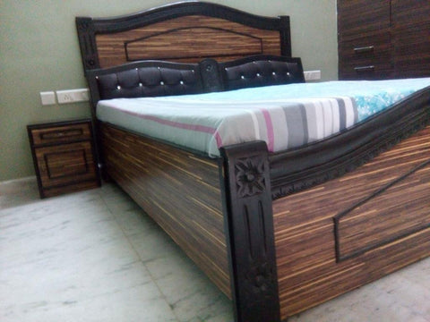 Wooden Chipped Bed with HeadBoard and Boxed Storage