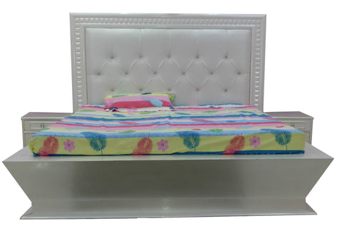 High Rise Platform Upholstery Bed in White