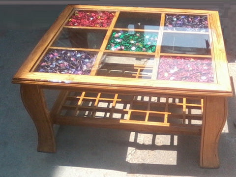 Blocks Wooden Table with a Glass Top