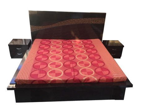 Circle wave wenge Platform Bed with Side Tables